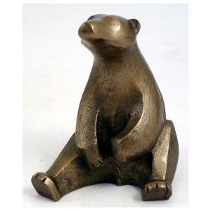 Sitting bear bronze figurine