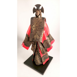 """Red Geisha"" raku sculpture..."